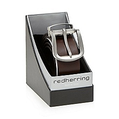 Red Herring - Brown leather silver buckle belt in a gift box