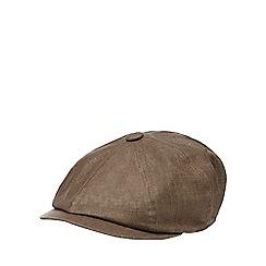 RJR.John Rocha - Brown linen bakerboy cap