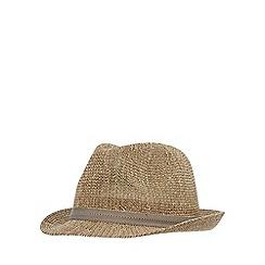 J by Jasper Conran - Natural waffle straw trilby hat