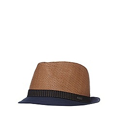 J by Jasper Conran - Navy and brown paper trilby hat