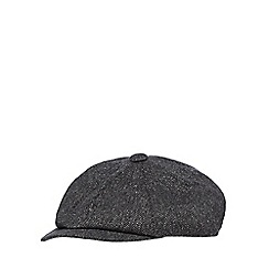 Hammond & Co. by Patrick Grant - Navy silk blend herringbone baker boy hat