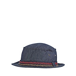 Mantaray - Blue denim herringbone textured pork pie hat