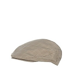 Osborne - Brown dogtooth print flat cap