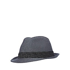 The Collection - Navy canvas trilby hat