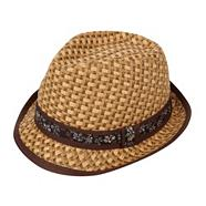 Brown weave trilby hat