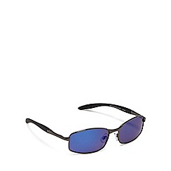 Mantaray - Black polarised blue tinted rectangle sunglasses