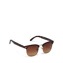 The Collection - Brown tortoise shell square retro frame sunglasses