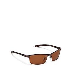 Mantaray - Brown rectangle half frame polarised sunglasses