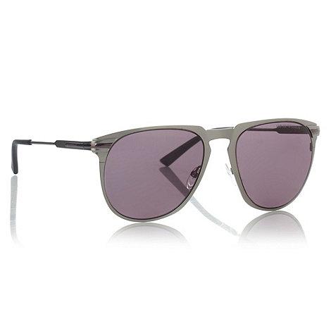 Emporio Armani - Purple gunmetal framed aviator sunglasses