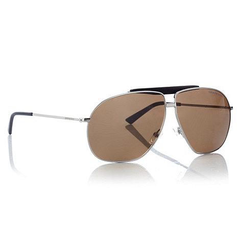 Emporio Armani - Brown grid-textured bar aviator sunglasses