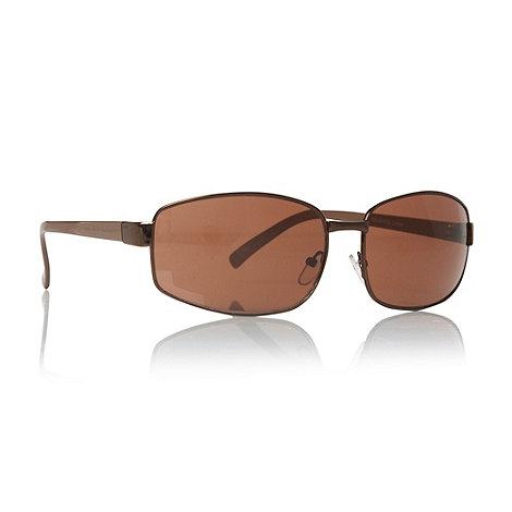 Maine New England - Brown rectangular full frame driving sunglasses