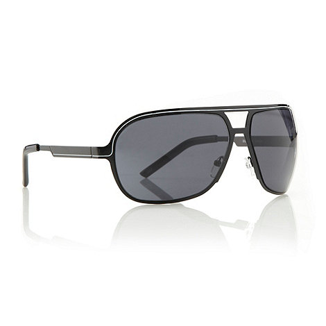 FFP - Black striped framed square aviator sunglasses