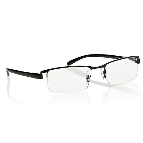 Polaroid - Black narrow half framed rectangular reading glasses