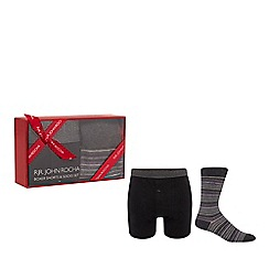 RJR.John Rocha - Black boxer shorts and socks gift box
