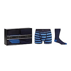 J by Jasper Conran - Navy keyhole trunks and socks set