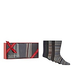 RJR.John Rocha - Set of five assorted striped and plain socks in a gift box