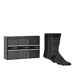 J by Jasper Conran - Set of three navy striped and plain socks in a gift box