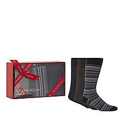 RJR.John Rocha - Set of three blue striped and plain socks in a gift box