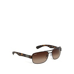 Ray-Ban - RB3522 square aviator bronze tort sunglasses