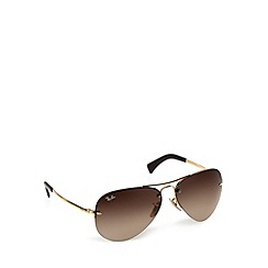 Ray-Ban - RB3449 rimless aviator gold sunglasses