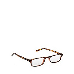 2WO.OPTICS - Brown plastic tortoiseshell D frame tinted reading glasses