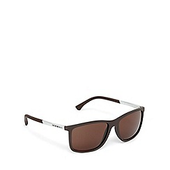 Emporio Armani - Silver and brown D-frame sunglasses