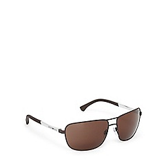 Emporio Armani - Brown and silver aviator sunglasses
