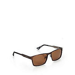 Ben Sherman - Brown checked rectangular sunglasses