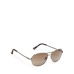 Ben Sherman - Silver and brown aviator sunglasses