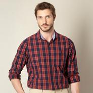 Red checked single pocket shirt