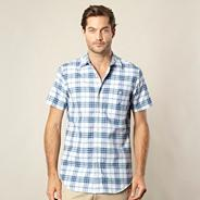 Big and tall mid blue checked shirt