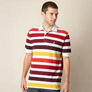 Light grey bold striped performance polo shirt