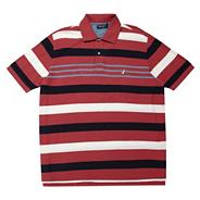 Big and tall dark red multi striped polo shirt