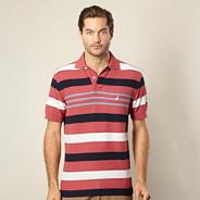 Red striped pique polo shirt