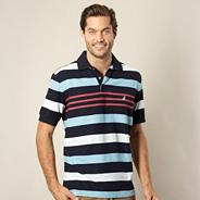 Big and tall navy multi striped polo shirt