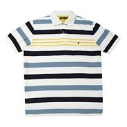 Big and tall white multi striped polo shirts