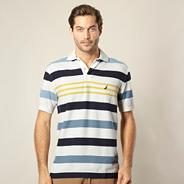 White striped pique polo shirt
