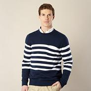 Navy striped crew neck jumper