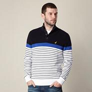 Big and tall navy striped knitted button jumper