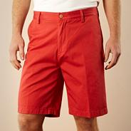 Red twill chino shorts