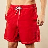 Big and tall red stitch swim shorts