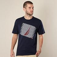 Navy mini flag printed logo t-shirt