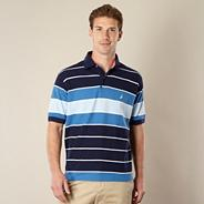 Blue block striped polo shirt