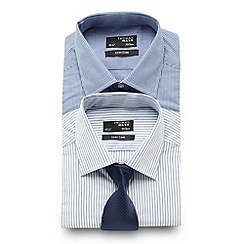 Thomas Nash - Big and tall pack of two blue patterned regular fit shirts and tie