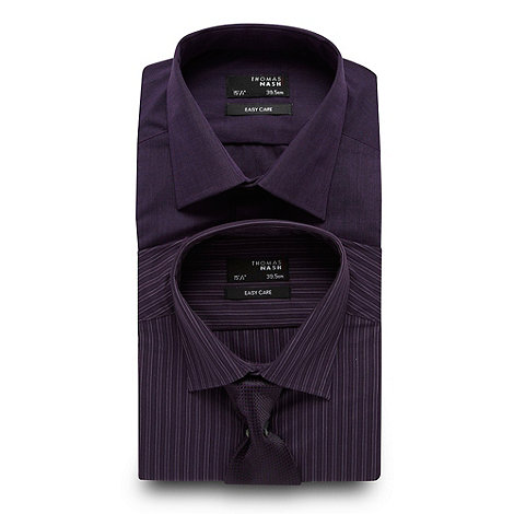 Thomas Nash - Big and tall pack of two purple shirts and tie set