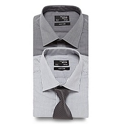 Thomas Nash - Big and tall pack of two grey plain and striped shirts with coordinated tie