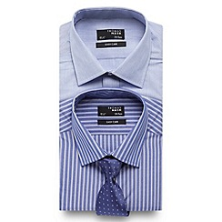 Thomas Nash - Pack of two blue striped shirts with coordinated tie