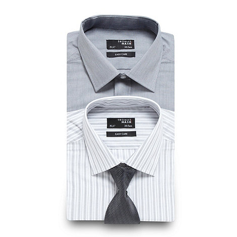 Thomas Nash - Big and tall pack of two grey pinstriped shirt and tie set