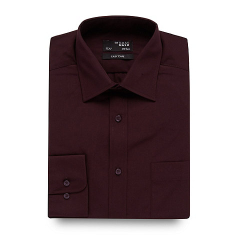 Thomas Nash - Big and tall wine plain regular fit shirt