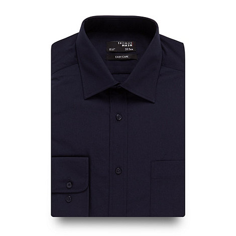 Thomas Nash - Big and tall navy plain regular fit shirt
